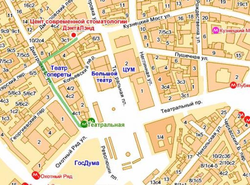 Ближайшее метро: Театральная Улица: Кузнецкий мост, д.3 Название клиники: ДэнтаЛэнд Режим работы: 9.00-21.00 без...